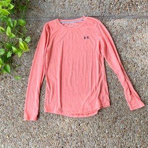 Under Armour Logo Pink Long Sleeve Workout Top